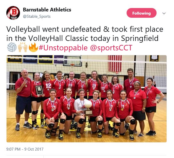 Barnstable Girls Volleyball Wins 2017 VolleyHall Classic